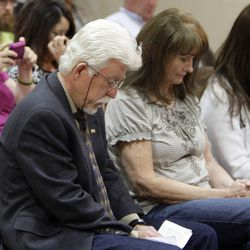 """Michael Stewart, father of  Matthew David Stewart, reflects during a prayer  during a """"Keep the Peace"""" rally in Ogden Thursday, April 12, 2012. Stewart, a decorated former U.S. Army soldier, is facing capital murder charges in the shooting death of Ogden police officer Jared Francom."""