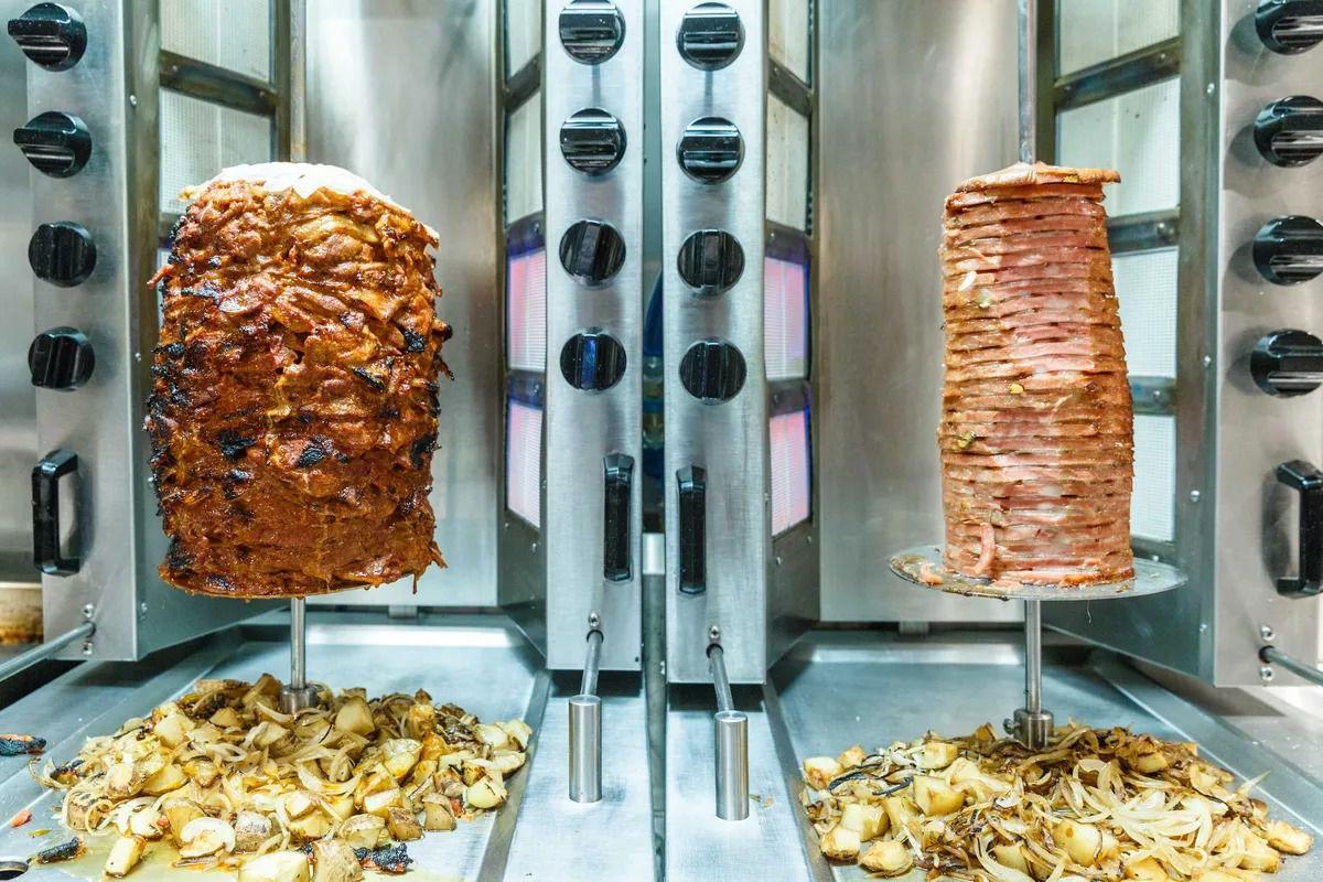 Gochujang-marinated pork and mortadella