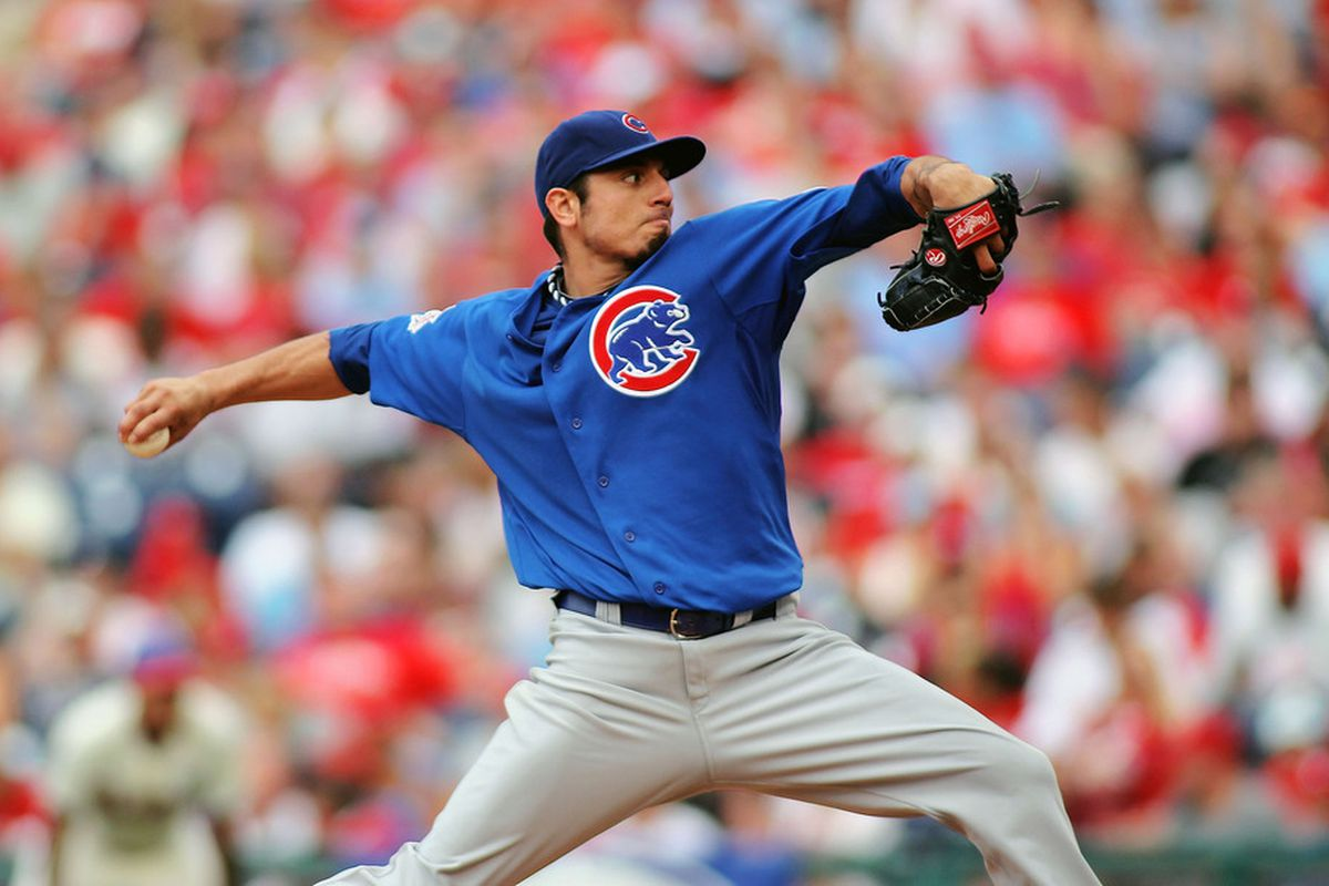 Matt Garza of the Chicago Cubs pitches against the Philadelphia Phillies at Citizens Bank Park on June 11, 2011 in Philadelphia, Pennsylvania.  (Photo by Len Redkoles/Getty Images)