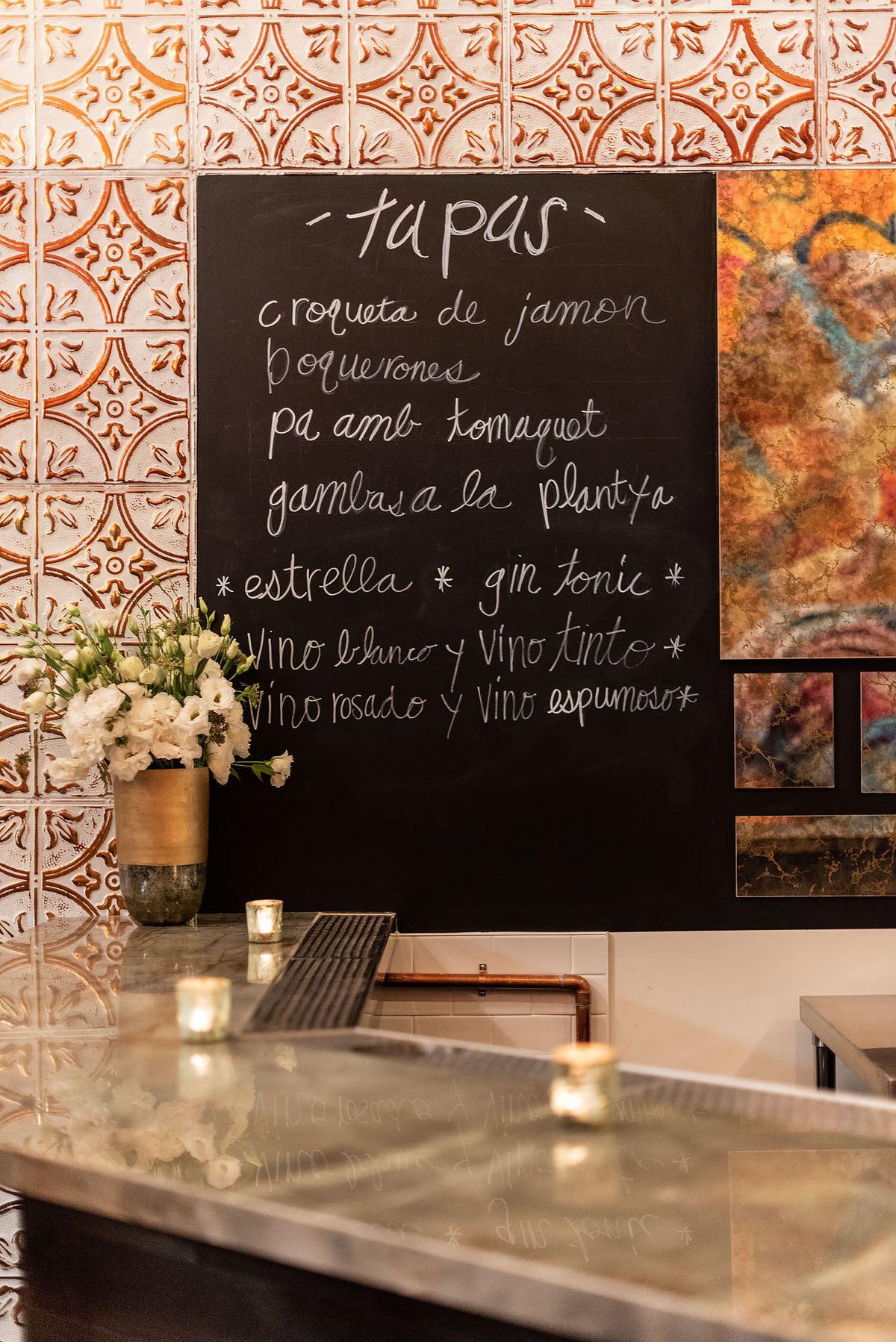 Tapas menu at Otoño