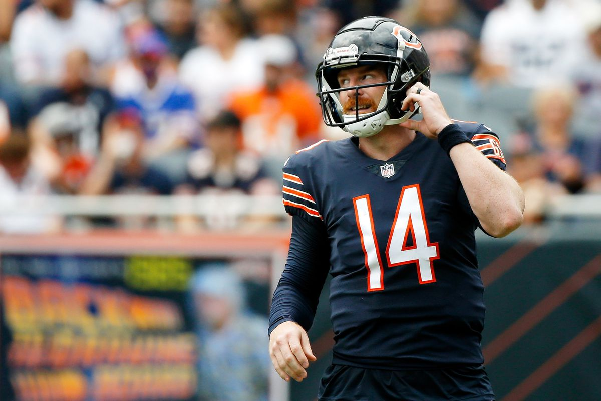 Chicago Bears quarterback Andy Dalton (14) reacts after a play against the Buffalo Bills during the second quarter at Soldier Field.
