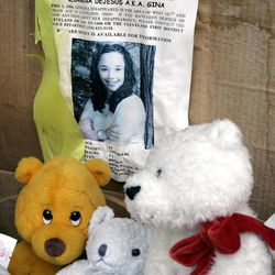 FILE - In this March 3, 2006 file photo, a memorial for Gina DeJesus, who has been missing since April 2, 2004, rests alongside her house in Cleveland. Cleveland police say DeJesus, one of two women who went missing as teenagers about a decade ago has been found alive in a residential area about two miles (three kilometers) south of downtown.