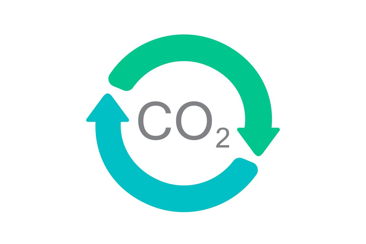 A graphic showing CO2 surrounded by a circle of arrows.