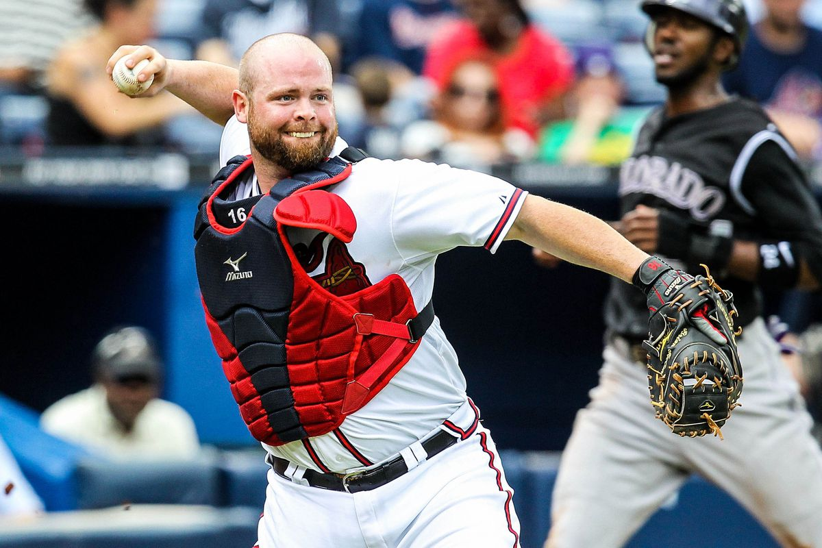 September 6, 2012; Atlanta, GA, USA; Atlanta Braves catcher Brian McCann (16) throws to first for an out against the Colorado Rockies at Turner Field. Mandatory Credit: Daniel Shirey-US PRESSWIRE
