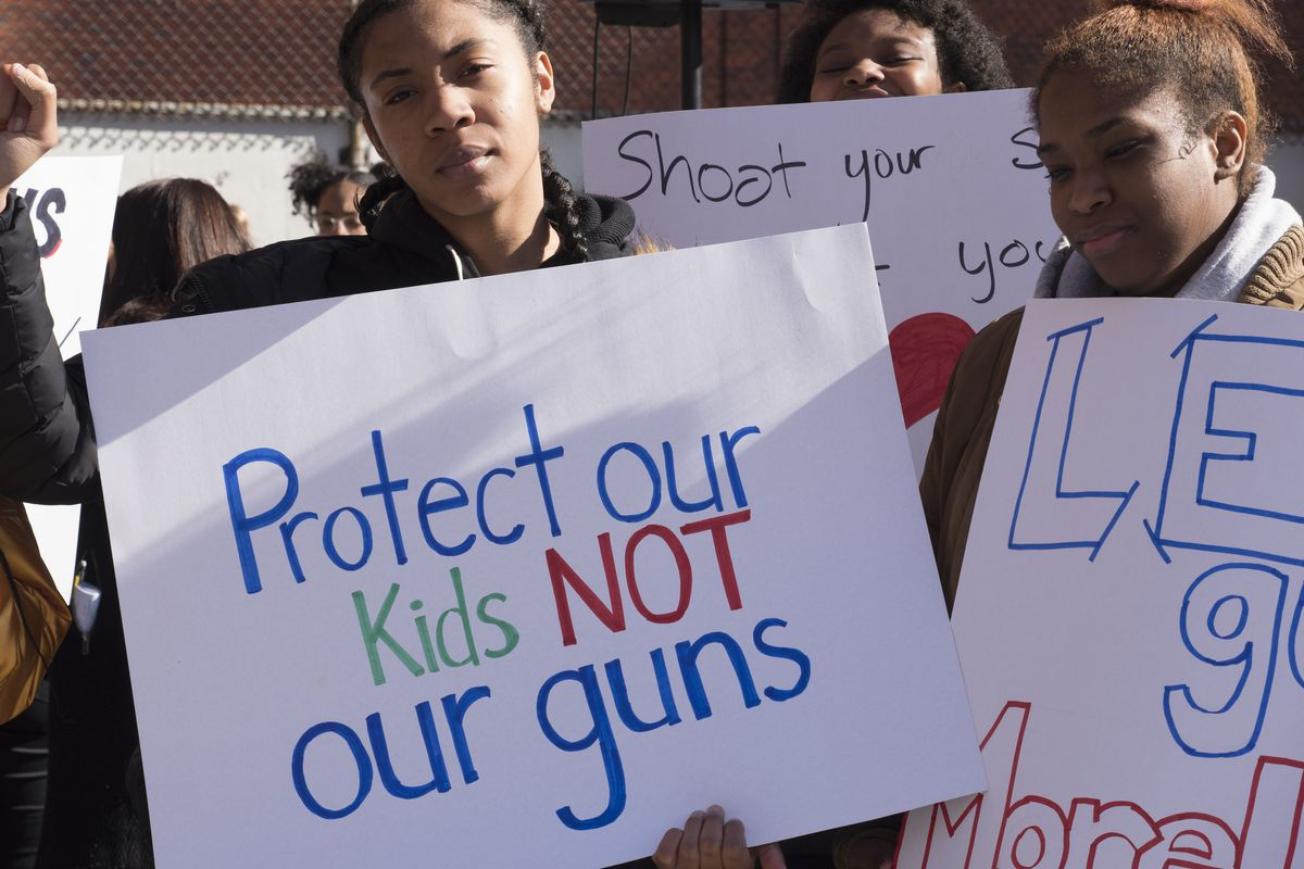 About 1,300 KIPP NYC students participated in the national school walkout a month after the Parkland, Florida shooting at Marjory Stoneman Douglas High.