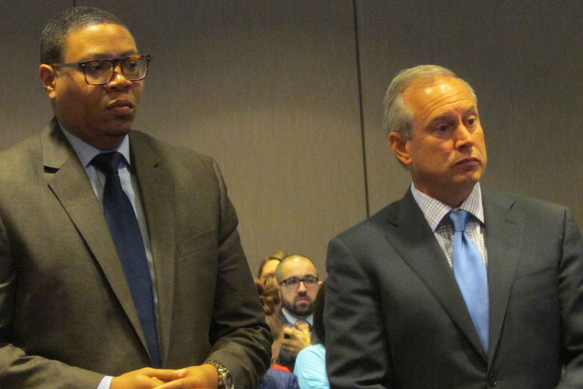 Superintendent Lewis Ferebee and Charter Schools USA President John Hage will work together on a K-6 school to funnel into Emma Donnan middle school.