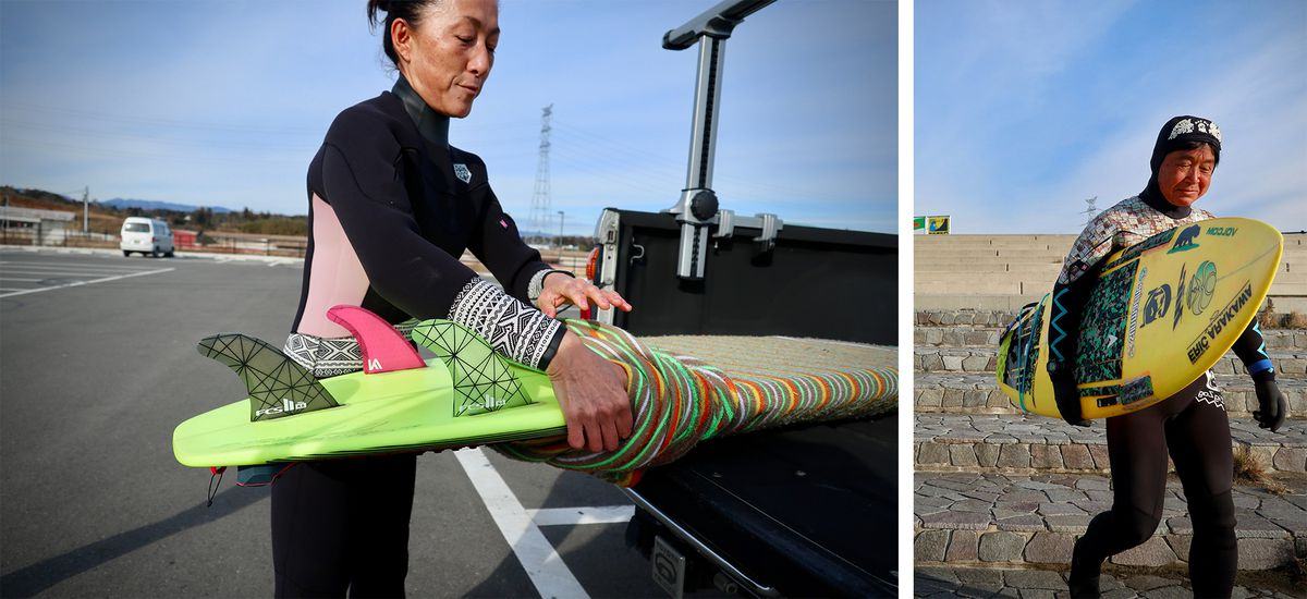 Two photos. On the left, a woman surfer is in a wetsuit in a parking lot, removing her surfboard from a sleeve at the back of her truck. On the right, a man in a wetsuit is carrying his surfboard down a set of stone steps.
