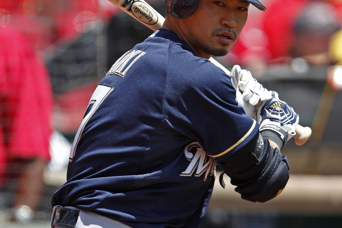 Jul 22, 2012; Cincinnati, OH, USA; Milwaukee Brewers right fielder Norichika Aoki (7) warms up in the on deck circle during the first inning against the Cincinnati Reds at Great American Ball Park. Mandatory Credit: Frank Victores-US PRESSWIRE