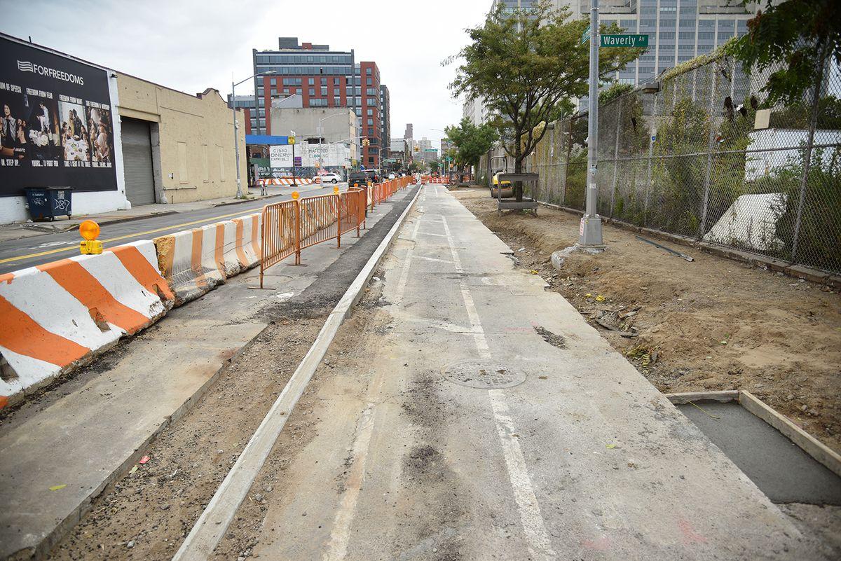 A bike lane under construction.