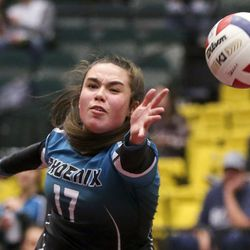 Farmington outside hitter Madison Gundry (17) makes a diving attempt at the ball during the 5A high school state finals match at the UCCU Center on the Utah Valley University campus in Orem on Saturday, Nov. 9, 2019.