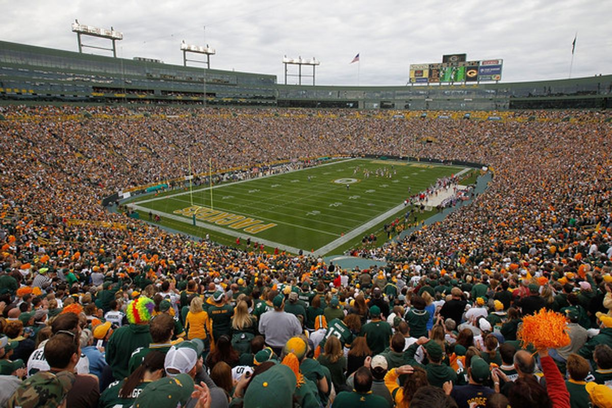 GREEN BAY WI - SEPTEMBER 19: A general view of Lambeau Field as the Green Bay Packers take on the Buffalo Bills on September 19 2010 in Green Bay Wisconsin. The Packers defeated Bills 34-7. (Photo by Jonathan Daniel/Getty Images)