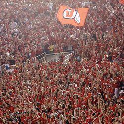 Utah fans cheer  in Salt Lake City  Sunday, Sept. 16, 2012.