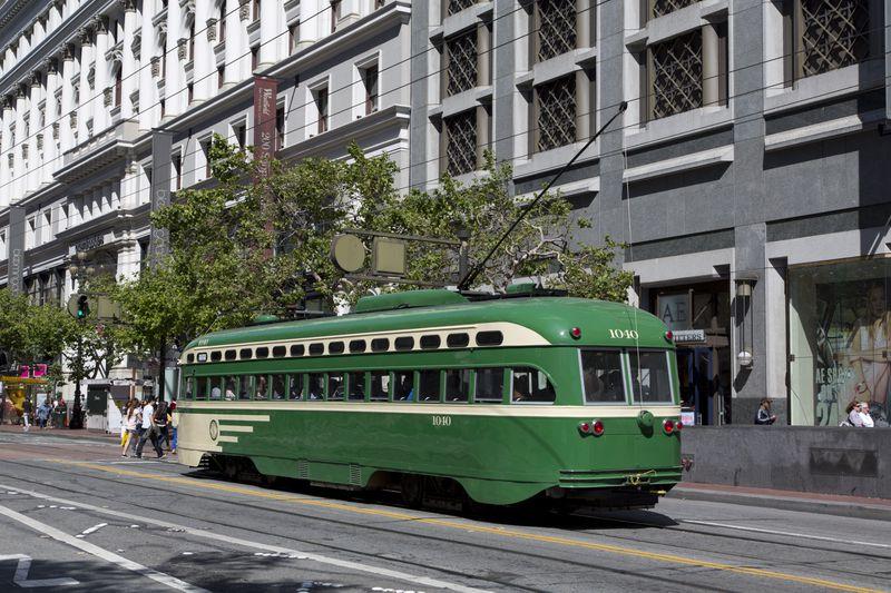 A trolley on San Francisco's Market Street.