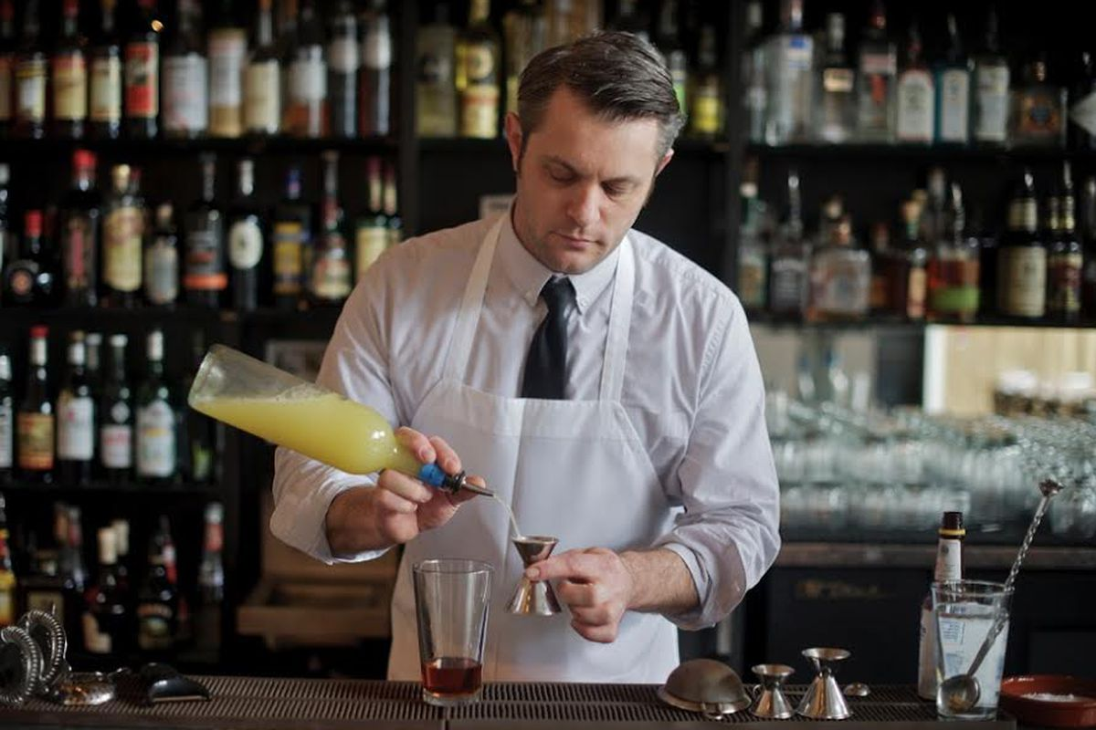Morganthaler behind the bar at Clyde Common in Portland.