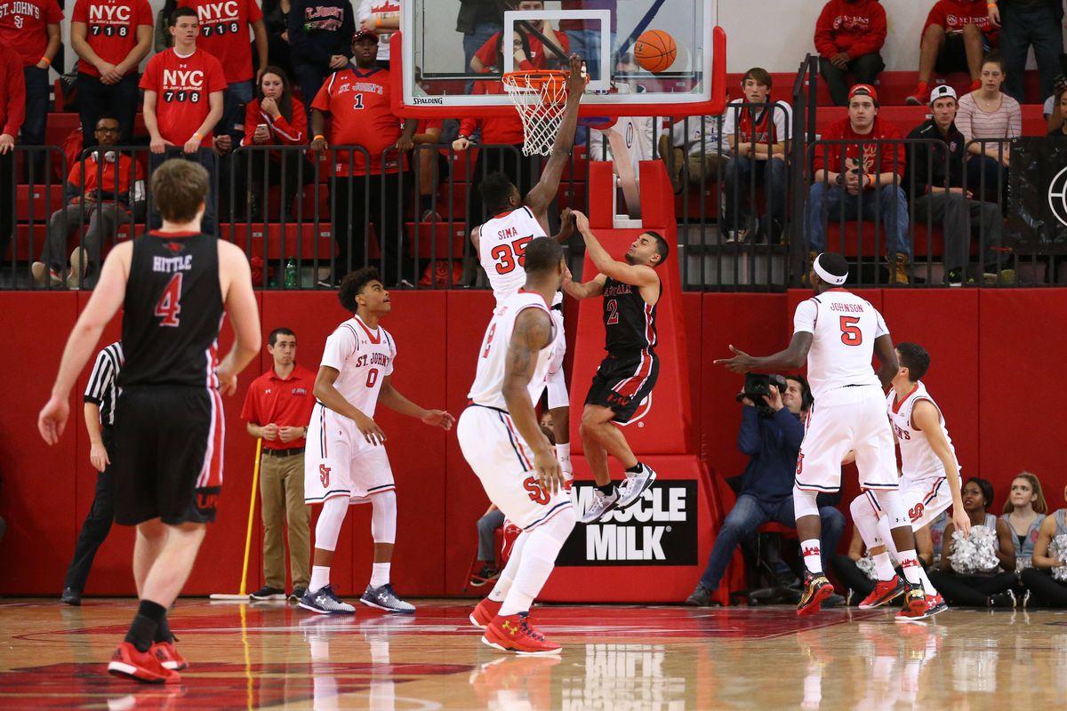 Yankuba Sima in action. St. John's lost to Incarnate Word...by 22.