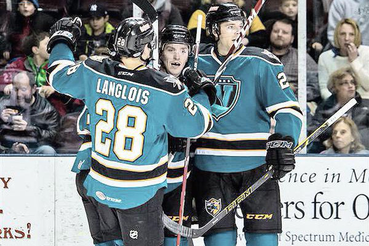 Worcester Sharks forward Jeremy Langlois registered a natural hat trick in the third period to give the Sharks a 3-2 win over the Portland Pirates Wednesday Night at the Cross Insurance Arena (Twitter.com/theahl).