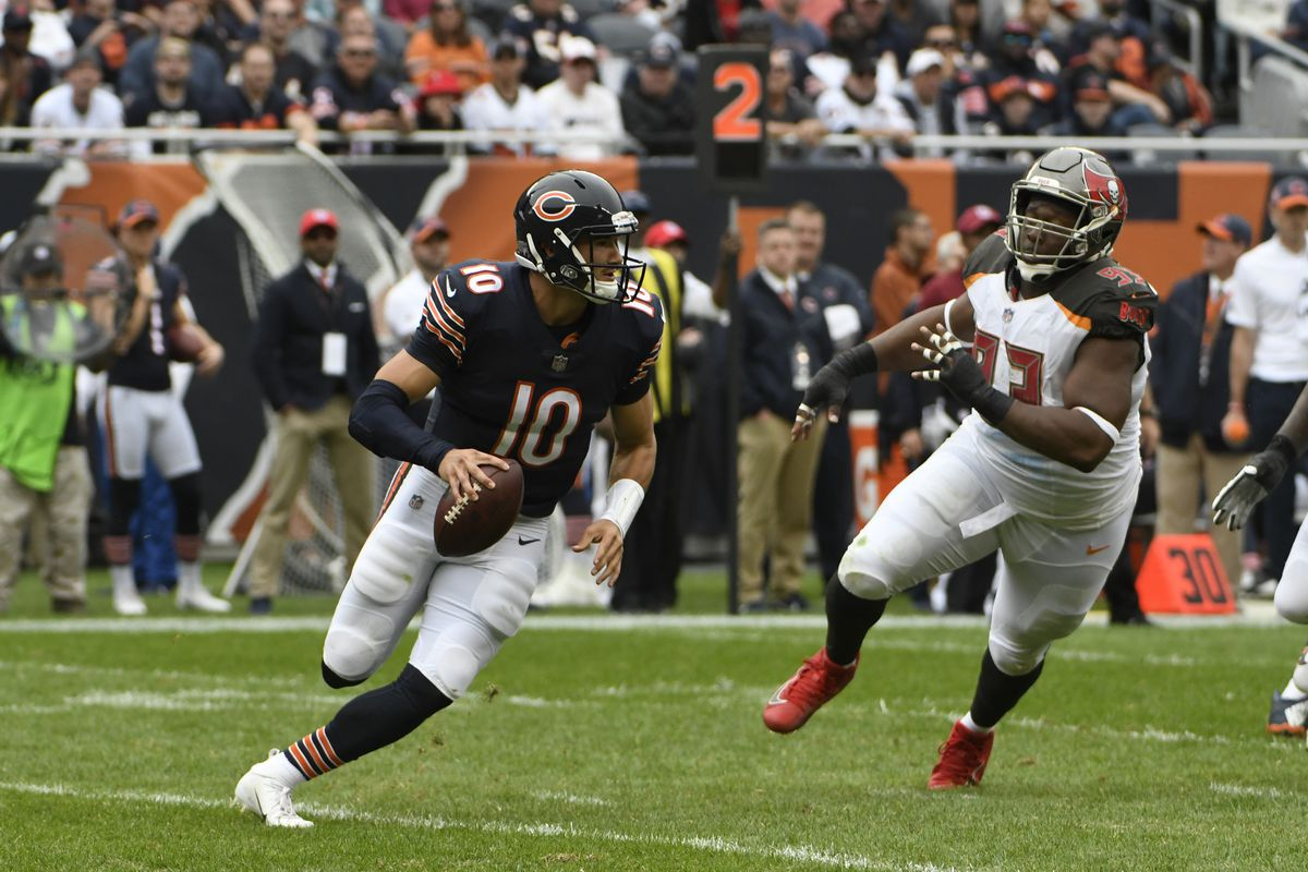 Mitch Trubisky (10) is the Bears' all-time leader in career passer rating (87.2), fifth in passing yards (10,609) and fifth in touchdown passes (64).