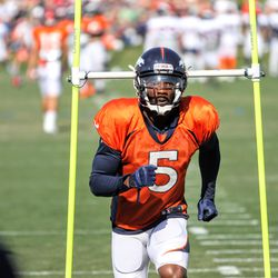 Newly acquired WR for the Broncos DeAndrew White looks for the ball during drills.
