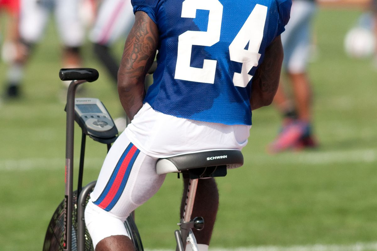 August 13, 2012; Pittsford, NY, USA; Buffalo Bills defensive back Terrence McGee (24) works on a stationary bike during training camp at St. John Fisher College.  Mandatory Credit: Mark Konezny-US PRESSWIRE