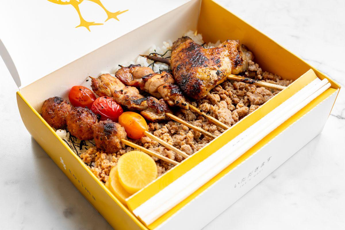 Torima yakitori takeout box from Hina Yakitori