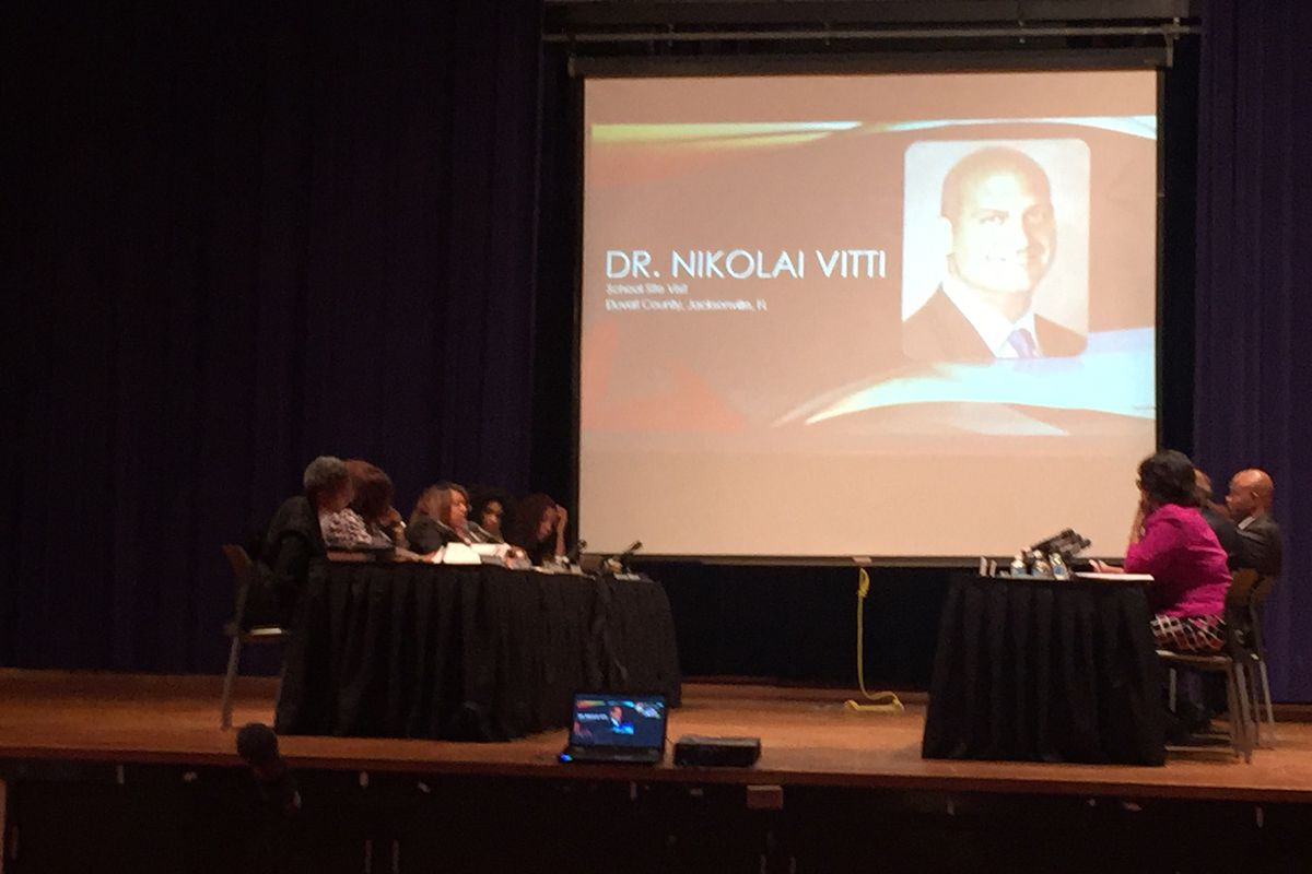 The Detroit school board  discusses superintendent candidate Nikolai Vitti before his selection on Tuesday, April 18, 2017.