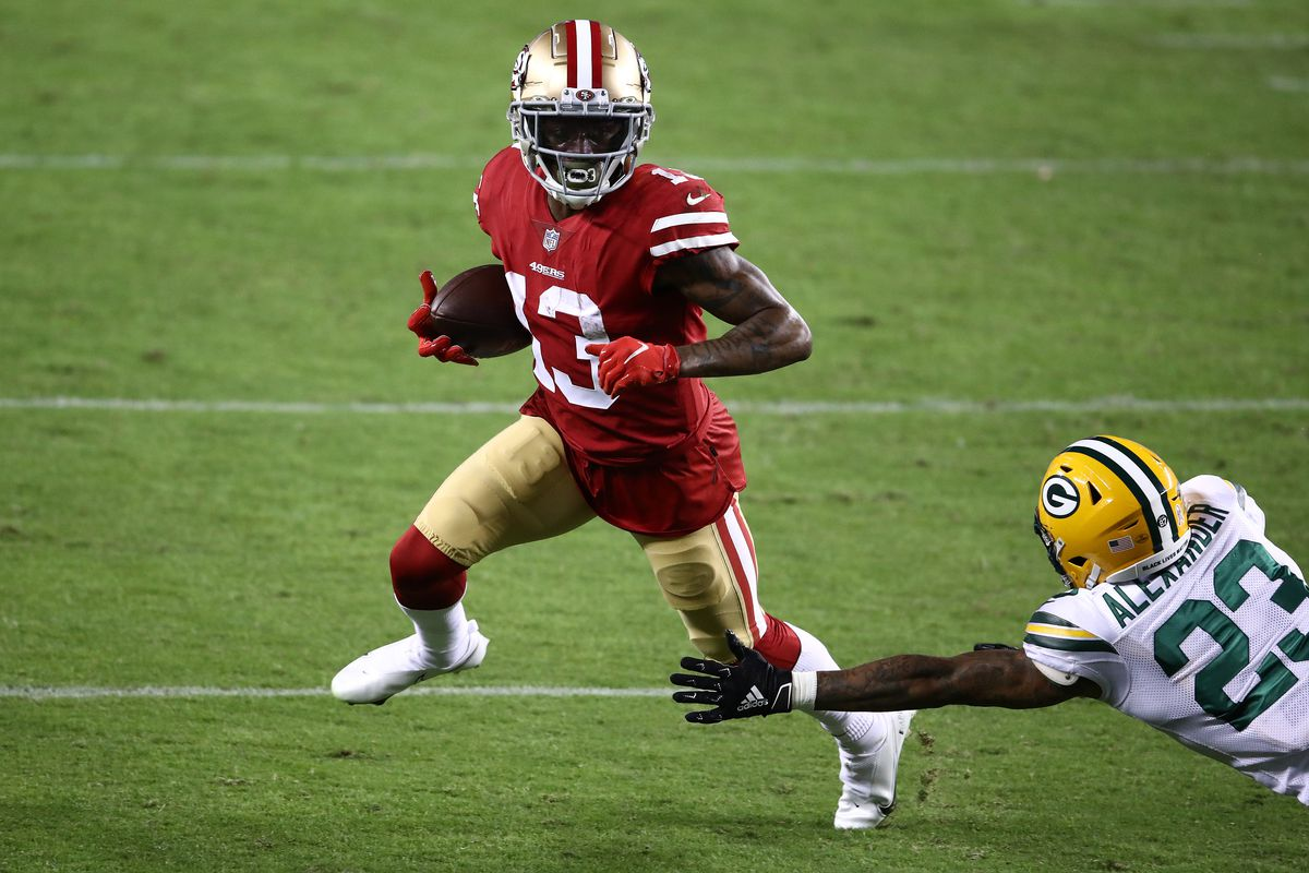 Richie James #13 of the San Francisco 49ers runs against Jaire Alexander #23 of the Green Bay Packers during the first quarter at Levi's Stadium on November 05, 2020 in Santa Clara, California.