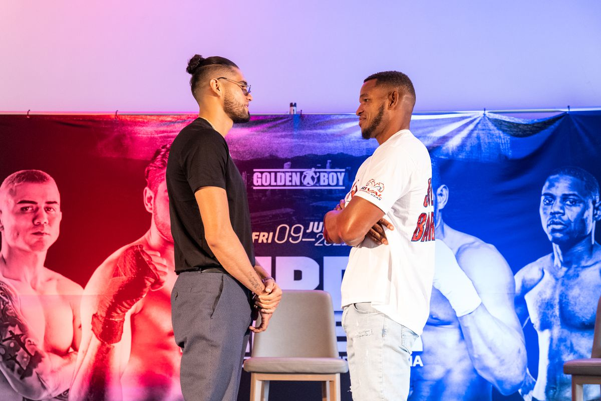 """Gilberto """"Zurdo"""" Ramirez and Sullivan Barrera face off for a photo during a media event on July 7, 2021 in Los Angeles, California."""