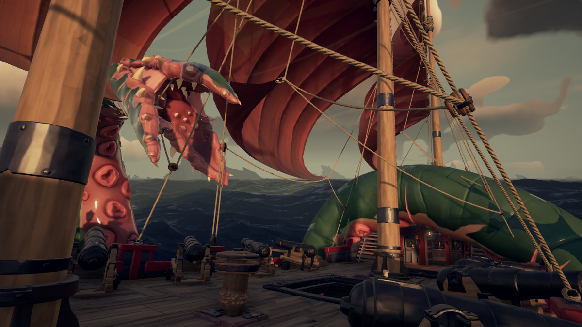 A pirate wards off an attacking Kraken in Sea of Thieves.