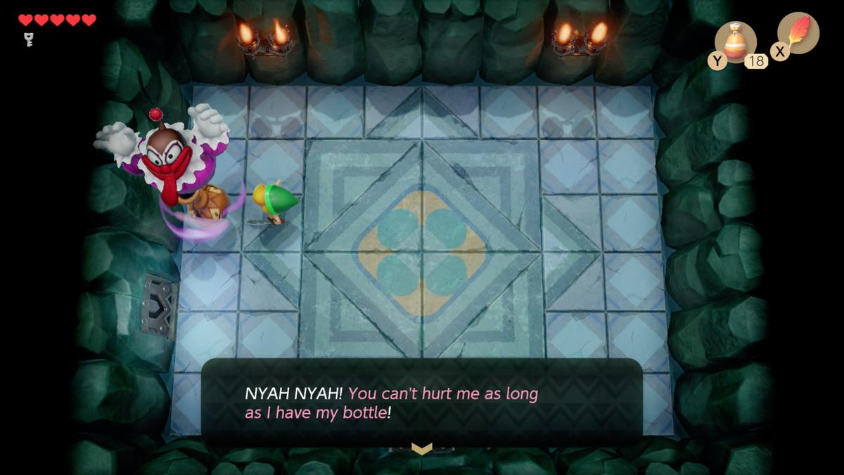 Link's Awakening Bottle Grotto starting the Genie boss fight