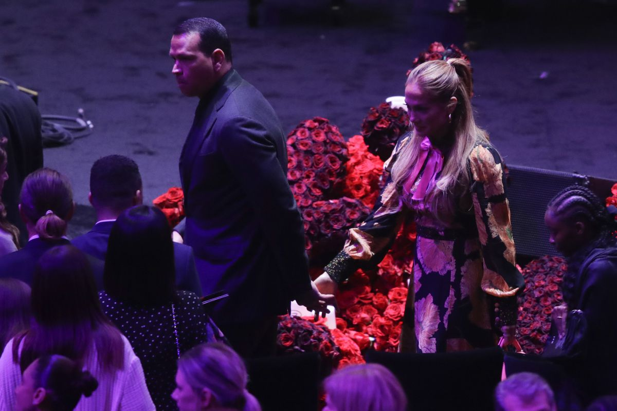 Jennifer Lopez and Alex Rodriguez leave after a celebration of life for Kobe Bryant and his daughter Gianna Monday, Feb. 24, 2020, in Los Angeles. (AP Photo/Marcio Jose Sanchez)