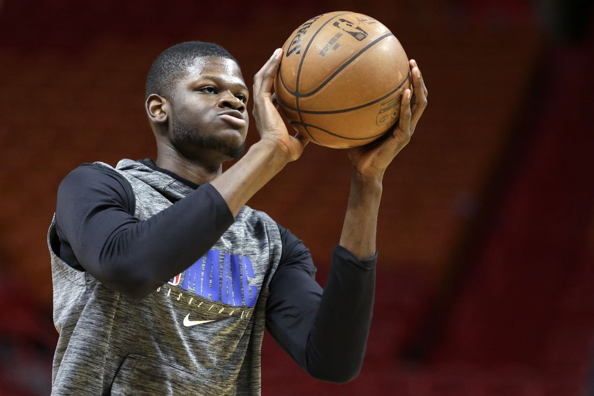 Orlando Magic center Mo Bamba warms up before the game against the Miami Heat at American Airlines Arena.