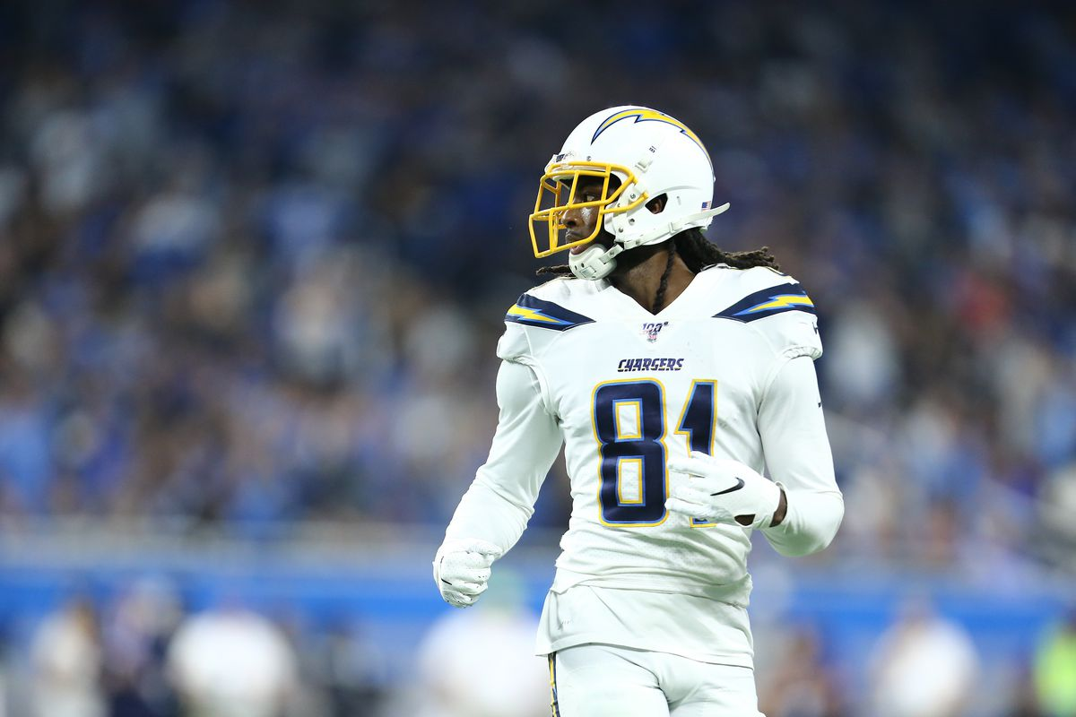 Mike Williams of the Los Angeles Chargers in game action in the fourth quarter Detroit Lions at Ford Field on September 15, 2019 in Detroit, Michigan.