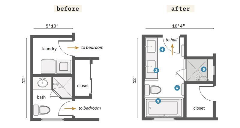 Summer 2021 Before & After Bath, floor plans