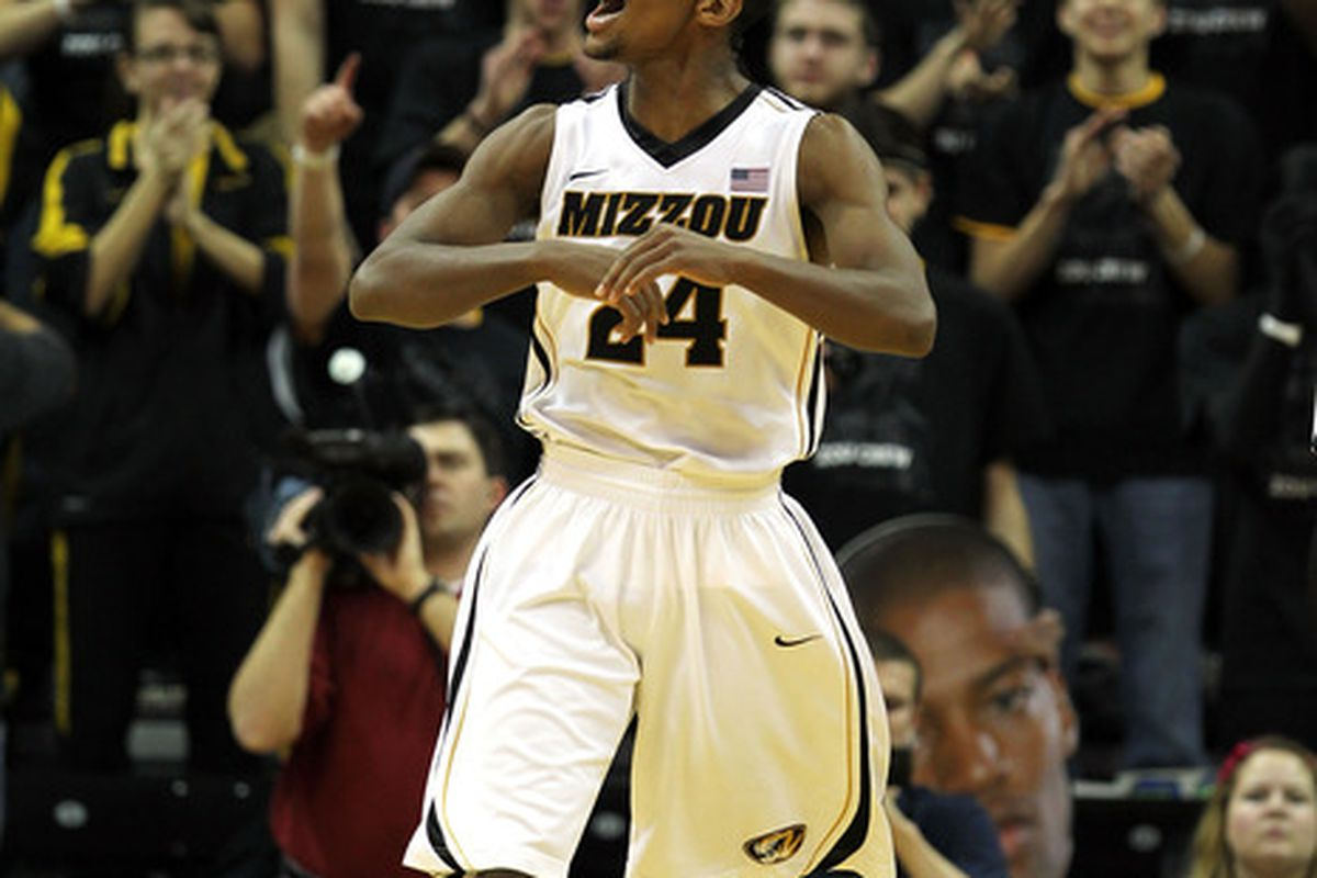 COLUMBIA, MO - JANUARY 14:  Kim English #24 of the Missouri Tigers celebrates after scoring during the game against the Texas Longhorns on January 14, 2012 at Mizzou Arena in Columbia, Missouri.  (Photo by Jamie Squire/Getty Images)