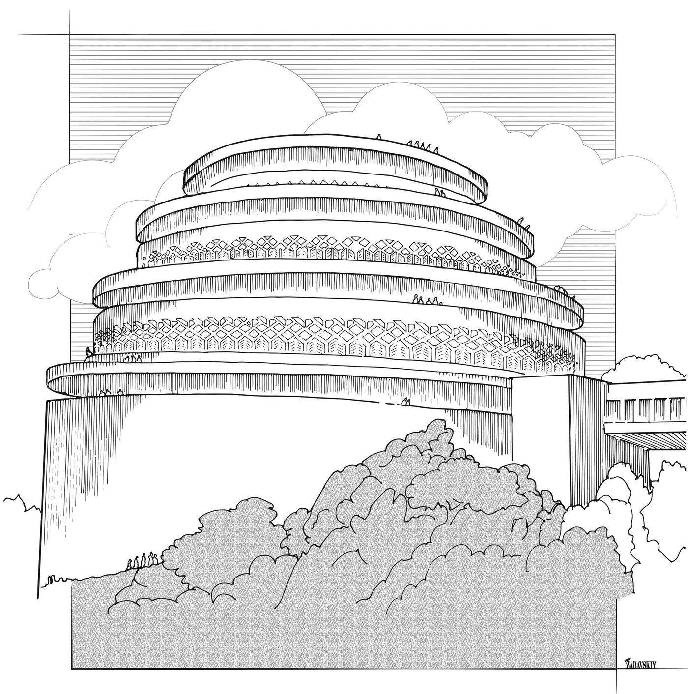 Famous Buildings of Frank Lloyd Wright Coloring Book: Bruce ... | 1412x1400