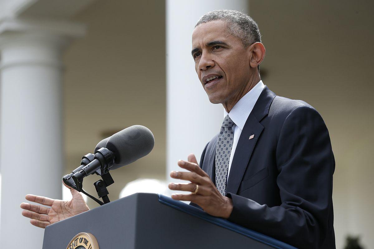 President Obama announces the Iran deal framework in April.