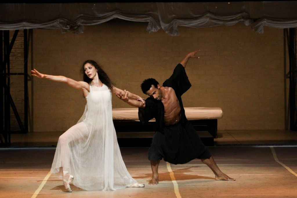 """Helene Bouchet (Desdemona) and Amilcar Moret Gonzalez (Othello) in Hamburg Ballet's """"Othello,"""" featured at the Harris Theater of Music and Dance as part of Shakespeare 400 Chicago in 2016. (Photo courtesy of Hamburg Ballet.)"""