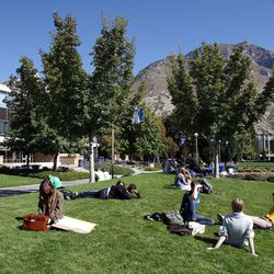 Students relax at Brigham Young University in Provo, Monday, Oct. 8, 2012.