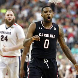 South Carolina's Sindarius Thornwell (0) reacts to a 3-point basket during the second half in the semifinals of the Final Four NCAA college basketball tournament against Gonzaga, Saturday, April 1, 2017, in Glendale, Ariz. (AP Photo/Mark Humphrey)