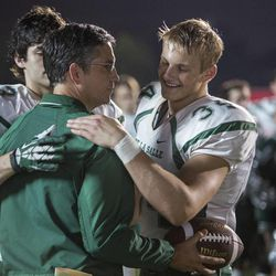 """Matthew Daddario (left), Jim Caviezel (center) and Alexander Ludwig in """"When the Game Stands Tall."""""""
