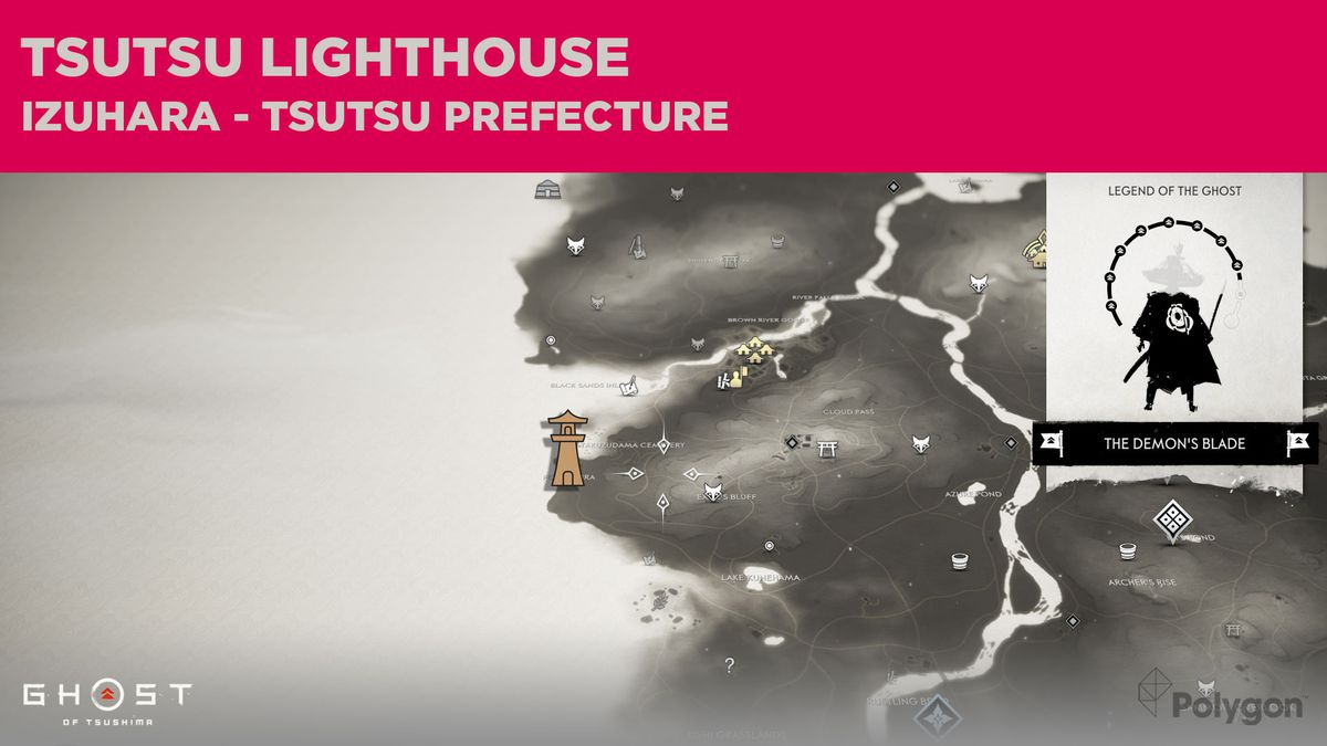 The lighthouse location in Tsutsu in Ghost of Tsushima