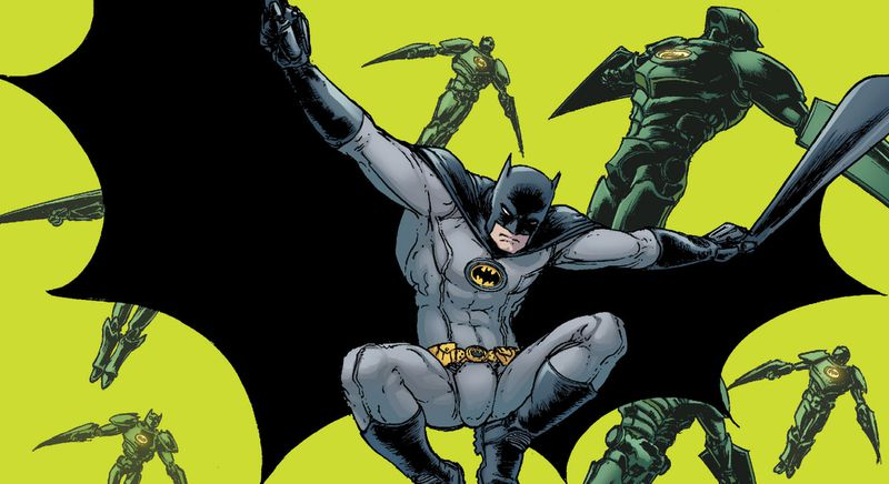 Batman leaps through the air with cape outspread. His costume is black on grey with grey piping. The symbol on his chest is a black bat on a yellow oval, on the cover of Batman Incorporated: Leviathan Strikes #1, DC Comics (2012).