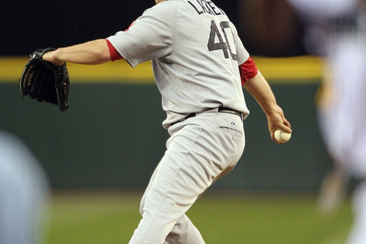 SEATTLE - JULY 22:  Starting pitcher John Lackey #40 of the Boston Red Sox pitches against the Seattle Mariners at Safeco Field on July 22 2010 in Seattle Washington. (Photo by Otto Greule Jr/Getty Images)