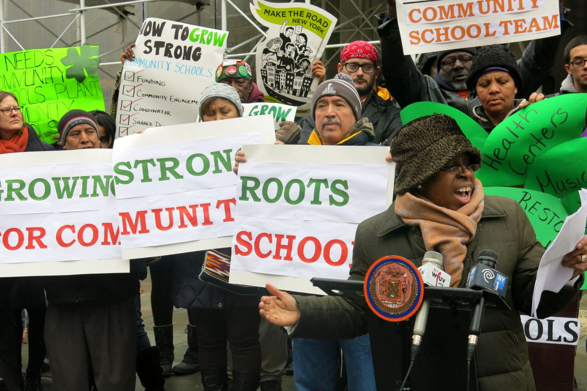 Claudette Agard, a member of the Coalition for Educational Justice, called on the city to adopt a formal community school policy.