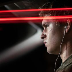 """Baby (Ansel Elgort) in """"Baby Driver."""""""