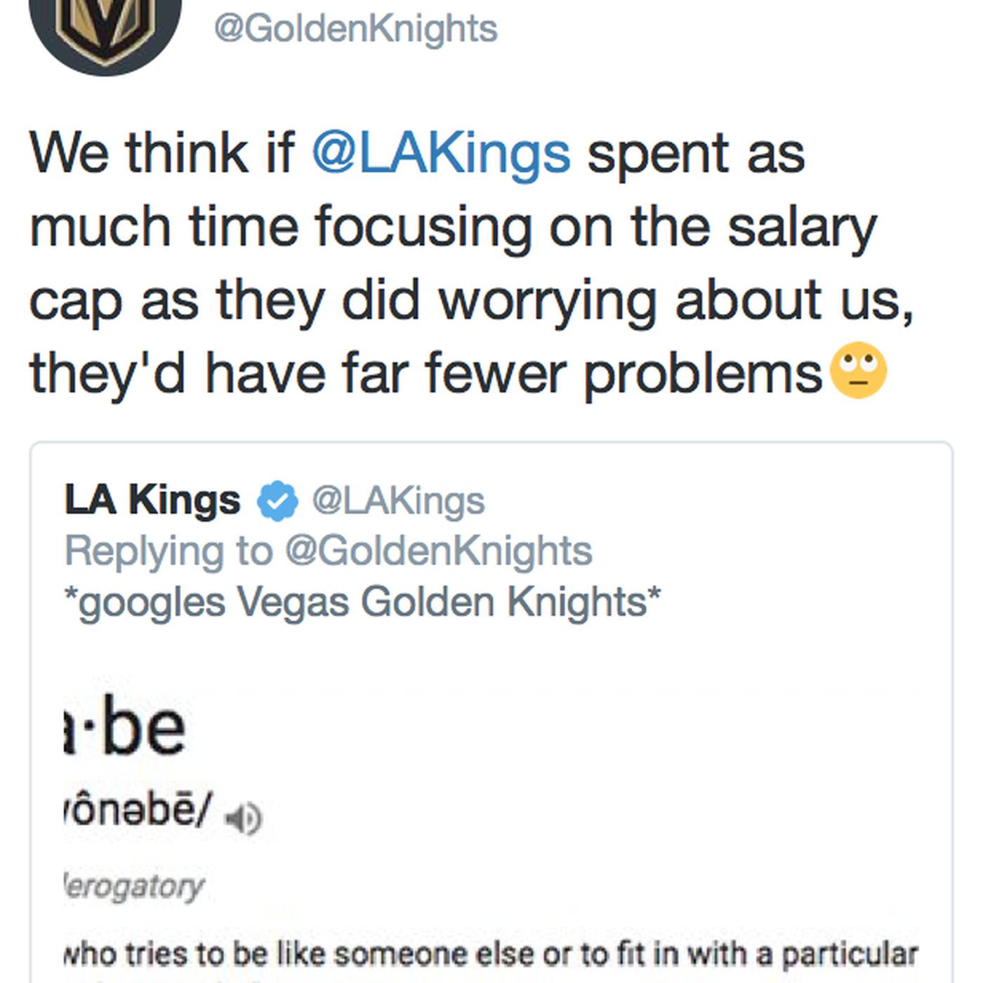 Vegas Golden Knights mock L A  Kings' poor cap management during