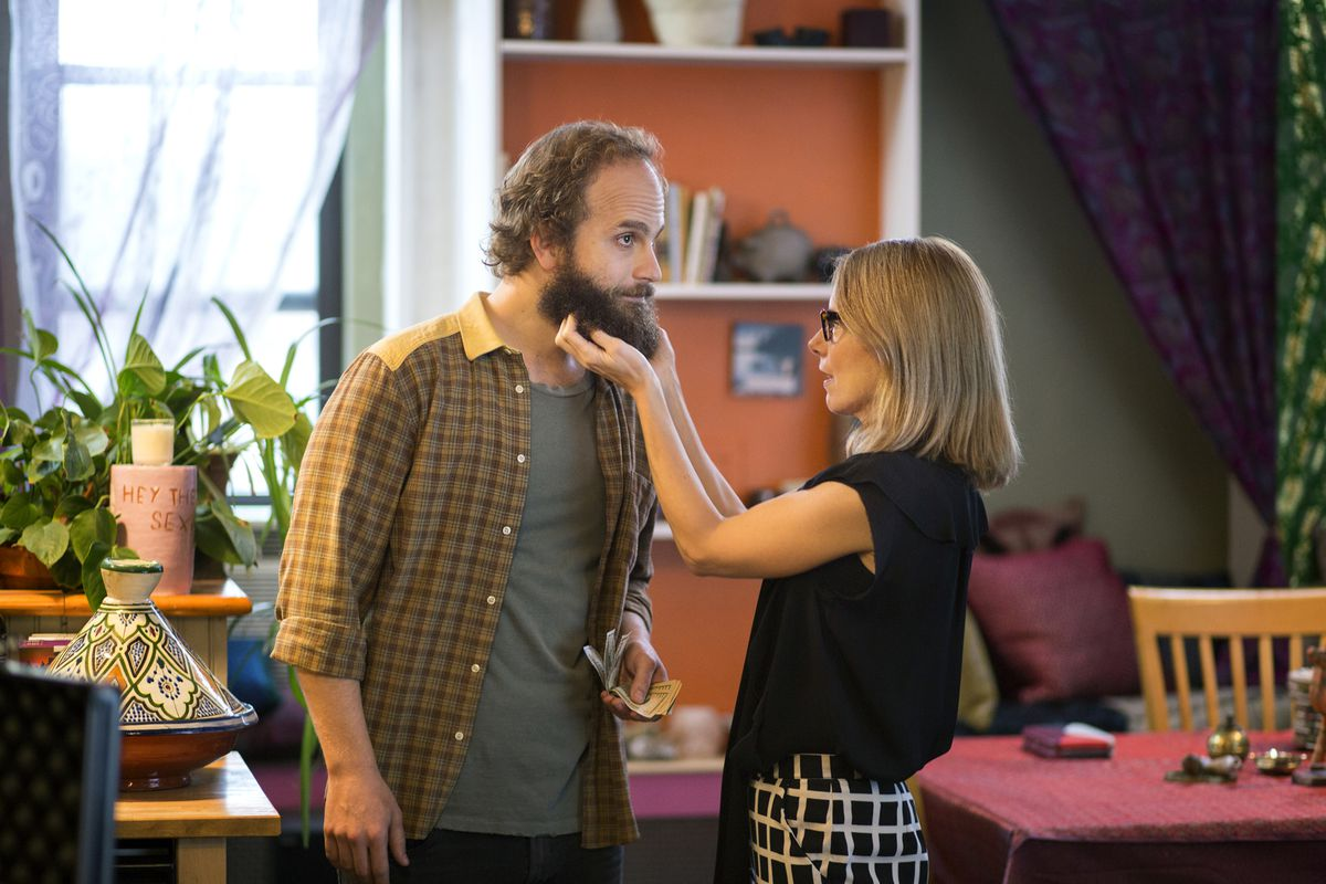 High Maintenance's main character, the weed deliveryman Guy, being greeted by a customer.