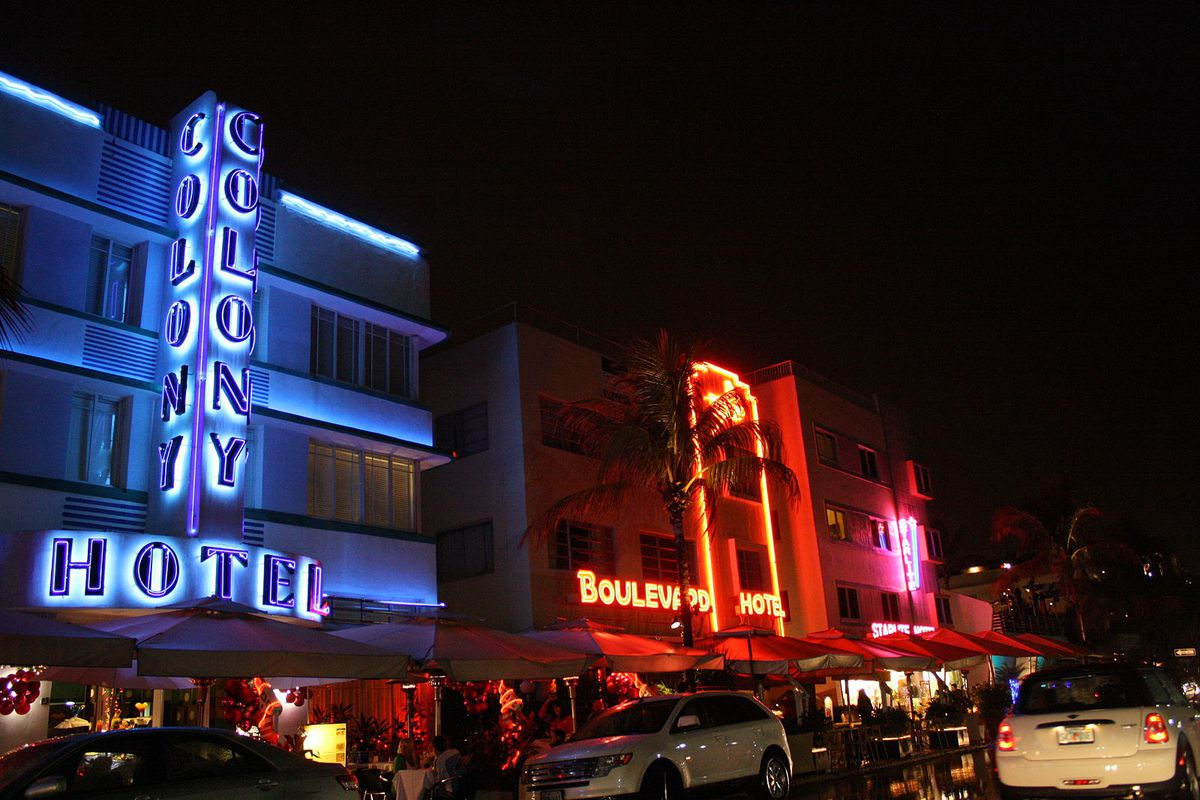 The bright neon lights of Ocean Drive hotels in South Beach
