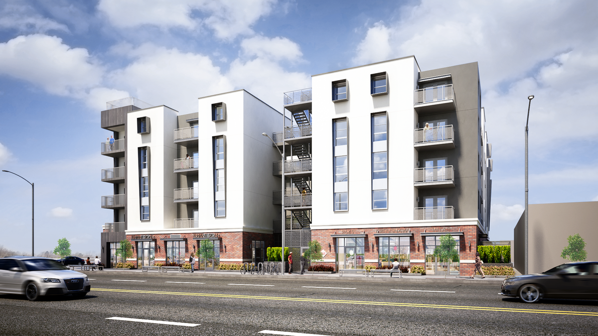 Rendering of affordable apartment building from across the street