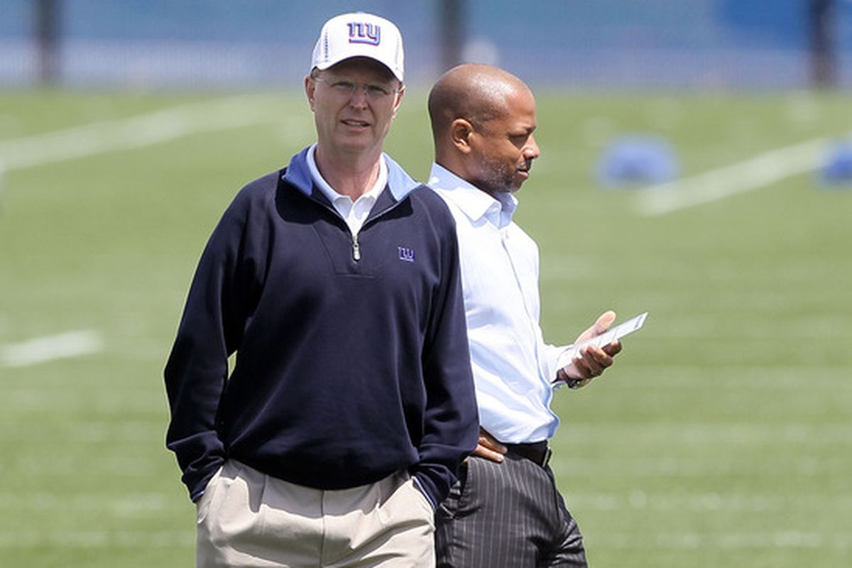 Giants owner John Mara and general manager Jerry Reese.